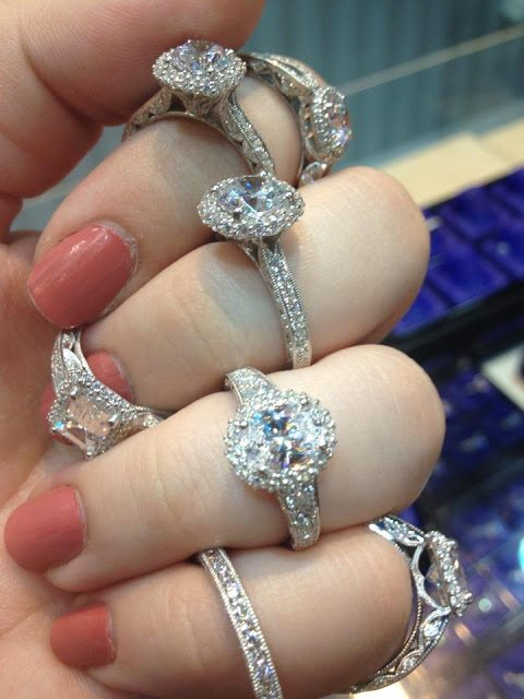 Diamond engagement rings by Tacori. Via Diamonds in the Library.