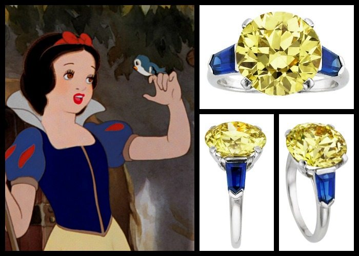 Engagement ring pick for Snow White: Art Deco Cartier yellow diamond and sapphire ring. It features a 5.50 carat a European-cut fancy intense yellow diamond flanked on either side by shield-cut sapphires weighing a total of 1.20 carats.