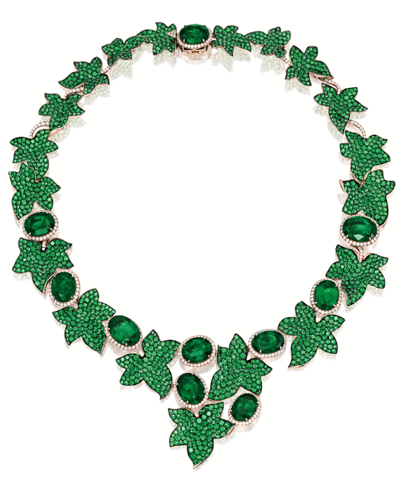 Michele della Valle's Ivy necklace. The flexible ivy branch is set with ten oval emeralds, totaling 30.00 carats, and leaves set with circular-cut emeralds (35.15 cts).