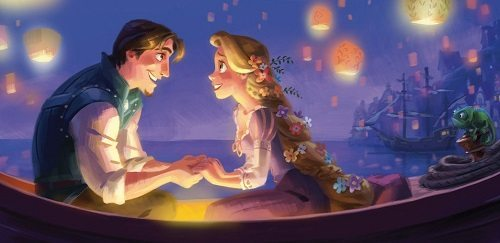 Rapunzel with her prince at the Happily Ever After part of Tangled