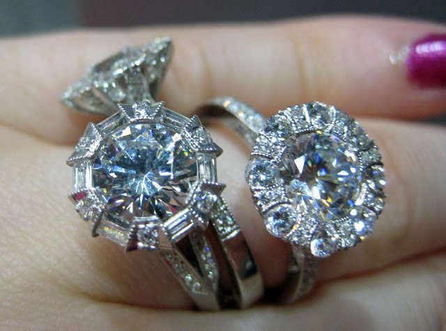 Several glorious Tacori diamond engagement rings. Via Diamonds in the Library.
