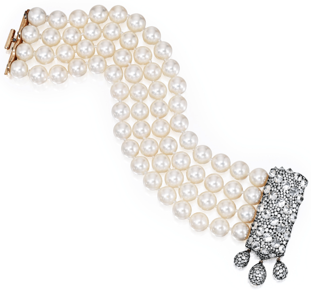 A gold, blackened silver, diamond and pearl bracelet by JAR, Paris. Via Diamonds in the Library.