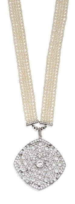 A wonderfully beautiful antique Art Deco seed pearl and diamond sautoir, Cartier