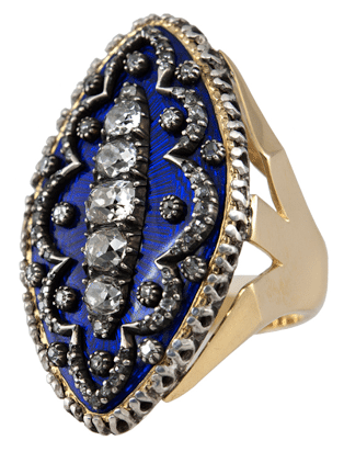An early Victorian gold, enamel, and diamond ring, circa 1800
