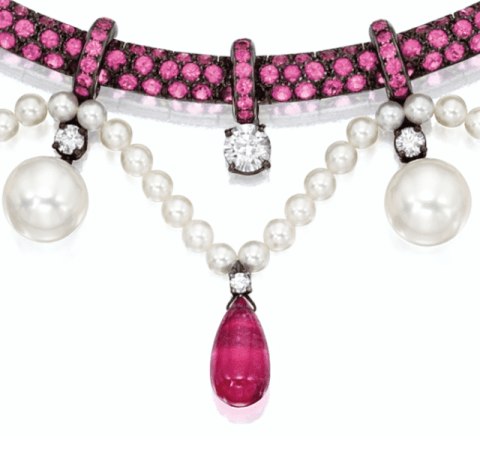 Boucheron pink sapphire, pink tourmaline, pearl, and diamond necklace, close up