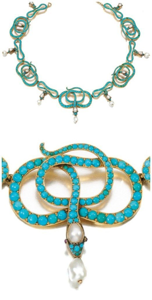 A Victorian era turquoise, ruby, and pearl snake necklace. 19th century.