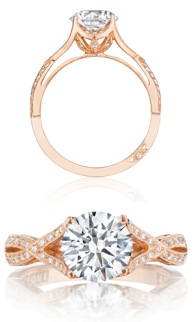 A rose gold and diamond engagement ring from Tacori's pretty in pink collection