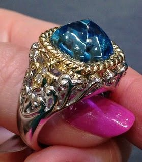 Alternate view - Elaborate aquamarine cocktail ring by Martin Flyer. Via Diamonds in the Library.