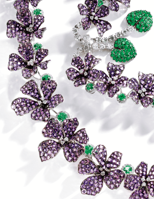 An amethyst, diamond, and emerald violet necklace by Michele della Valle. Via Diamonds in the Library.