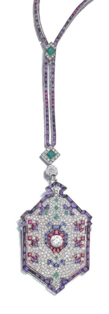 An antique Art Deco diamond and gem-set ladybug sautoir. Circa 1920's. Via Diamonds in the Library.