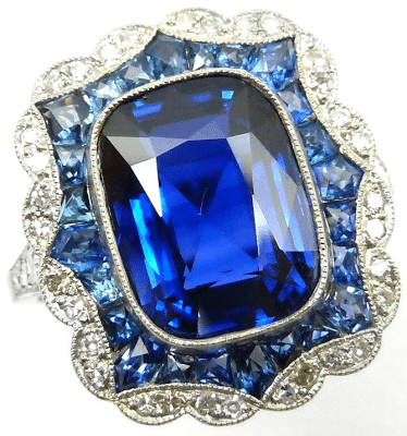 An antique sapphire and diamond ring