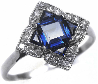 Art Deco sapphire and diamond ring, circa 1915