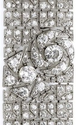 Design detail; Art Deco diamond bracelet with pattern of stylized roses. By Boucheron, circa 1925. Via Diamonds in the Library.