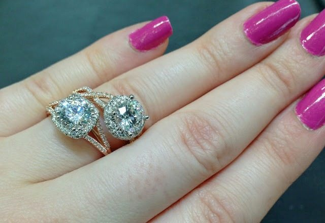Rose gold and diamond engagement rings by Coast Diamond. Via Diamonds in the Library.