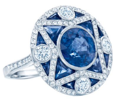 Sapphire and diamond ring by Tiffany & Co. A contemporary piece in the Art Deco style.