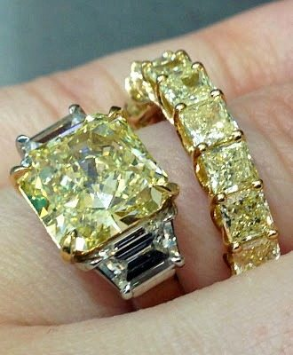 A beautiful yellow diamond engagement ring with a yellow diamond eternity band. Both by Sasha Primak. Via Diamonds in the Library.