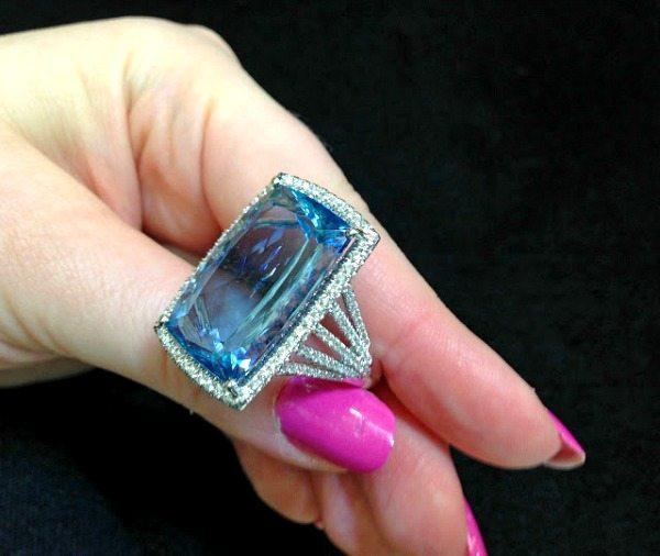 An aquamarine and diamond cocktail ring by Coast Diamond. Via Diamonds in the Library.