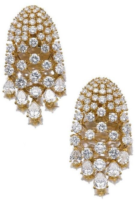 Earrings from a gold and diamond demi-parure, Van Cleef and Arpels.