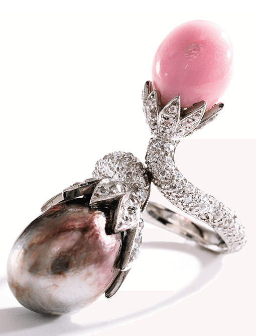 Natural pearl, conch pearl, and diamond ring. Via Diamonds in the Library.