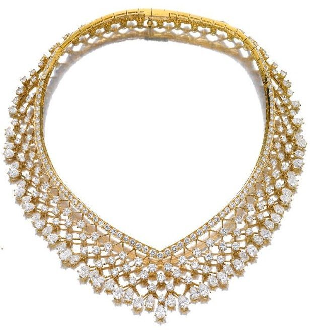 Necklace from a gold and diamond demi-parure, Van Cleef and Arpels.