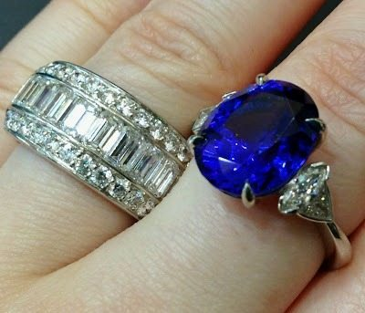 Sapphire and diamond ring and a diamond eternity band, both by Sasha Primak. Via Diamonds in the Library.