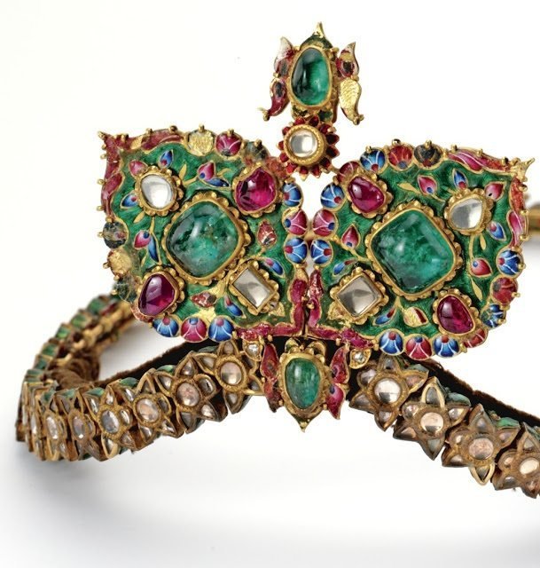 A glorious antique diamond, gemstone, and enamel diadem from the 19th century.