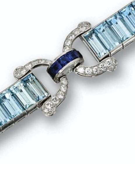 Detail - Art Deco aquamarine, sapphire, and diamond bracelet, Cartier.
