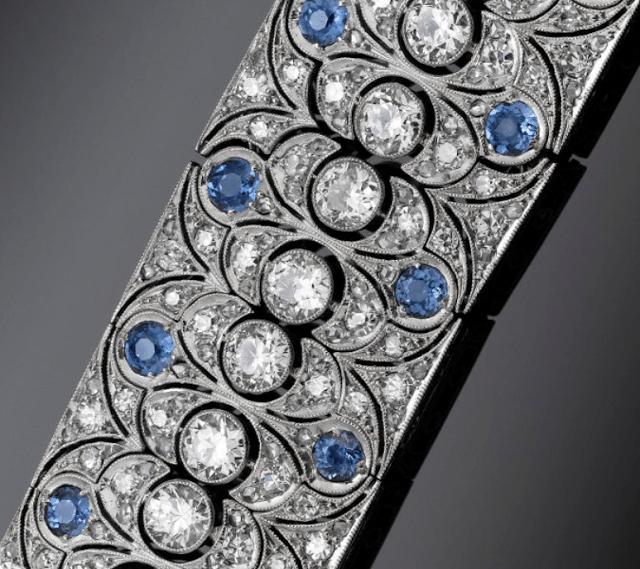 Detail; Art Deco diamond and sapphire bracelet with 18.00 carats of sparkling white diamonds and 8.00 carats of azure blue sapphires, all set in platinum. Via Diamonds in the Library.
