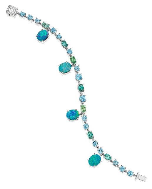 Mimi So ZoZo collection opal and gemstone bracelet. Via Diamonds in the Library.