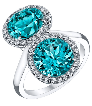 Tamir greenish blue tourmaline and diamond cocktail ring. Via Diamonds in the Library.
