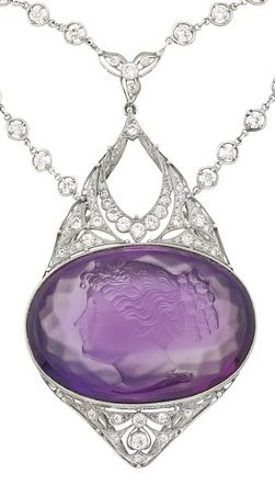 Detail: Antique Belle Epoque platinum, diamond and amethyst cameo necklace. Via Diamonds in the Library.