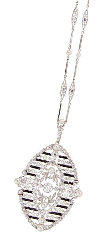 Antique Belle Epoque diamond and onyx necklace, circa 1910. Via Diamonds in the Library.