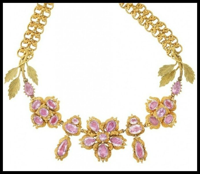 Antique foiled-back pink topaz and gold necklace, circa 1830. Via Diamonds in the Library.