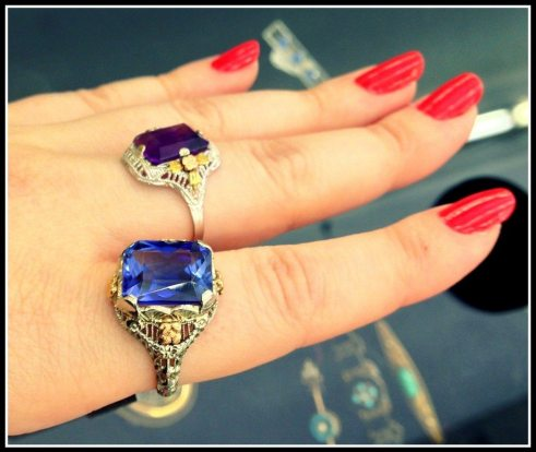 Two antique gemstone and filigree rings, one sapphire and one amethyst. At Scott Antique market. Via Diamonds in the Library