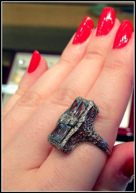 Antique aquamarine and white gold filigree ring. Via Diamonds in the Library.