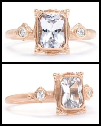 "Megan Thorne ""picture frame"" white sapphire engagement ring in rose gold. Via Diamonds in the Library."