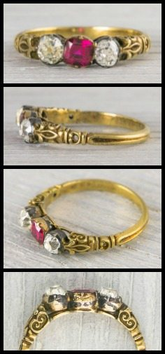 Victorian antique engagement ring in gold and silver with a ruby and two old mine cut diamonds, circa 1875. Via Diamonds in the Library.