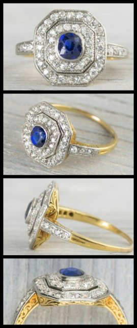 Early Art Deco antique ring with a bezel set sapphire set within two octagonal millegrain-edged platinum borders set with diamonds in platinum over gold. Via Diamonds in the Library.