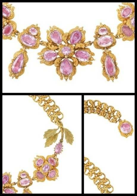 Details: Antique foiled-back pink topaz and gold necklace, circa 1830. Via Diamonds in the Library.