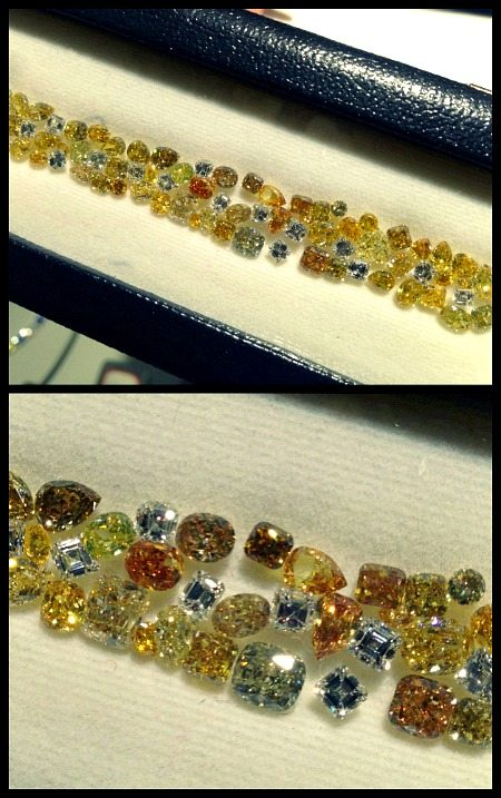 This Oscar Heyman diamond and yellow diamond bracelet is in the design stage. The stones are laid out on the foam in the same pattern they will eventually be set in on the final bracelet. Via Diamonds in the Library.