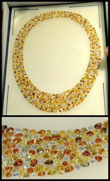 This Oscar Heyman diamond and yellow diamond necklace is in an early stage of construction. The stones are placed in hard wax so that the jeweler may build the piece around them.