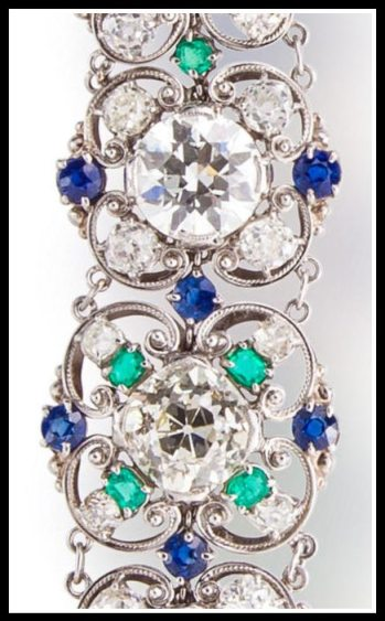 Link detail: Diamond, sapphire and emerald bracelet by Louis Comfort Tiffany, circa 1915-1925. Via Diamonds in the Library.