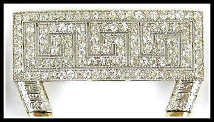 Detail: Art Deco diamond hair combs featuring a Greek key motif in single-cut diamonds and gold prongs. Circa 1910 by Black, Starr & Frost. Via Diamonds in the Library.