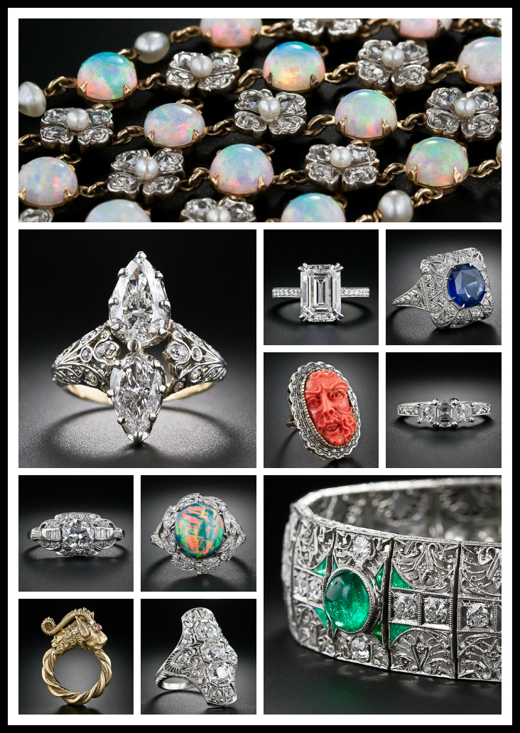 Collage of Lang Antiques' jewelry featured on Diamonds in the Library (Part 1).