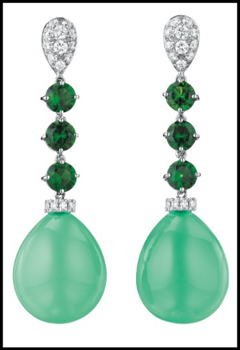 Margherita Burgener pavé-set diamond, chrome diopside, and chrysoprase drop earrings. Via Diamonds in the Library.