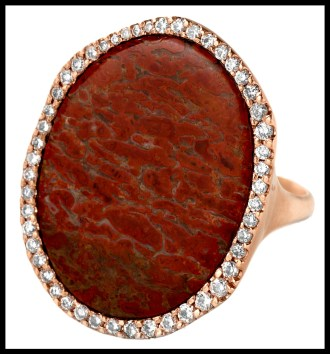 Red Fossilized Dinosaur Bone & Diamond Oval Ring by Monique Péan. Via Diamonds in the Library.