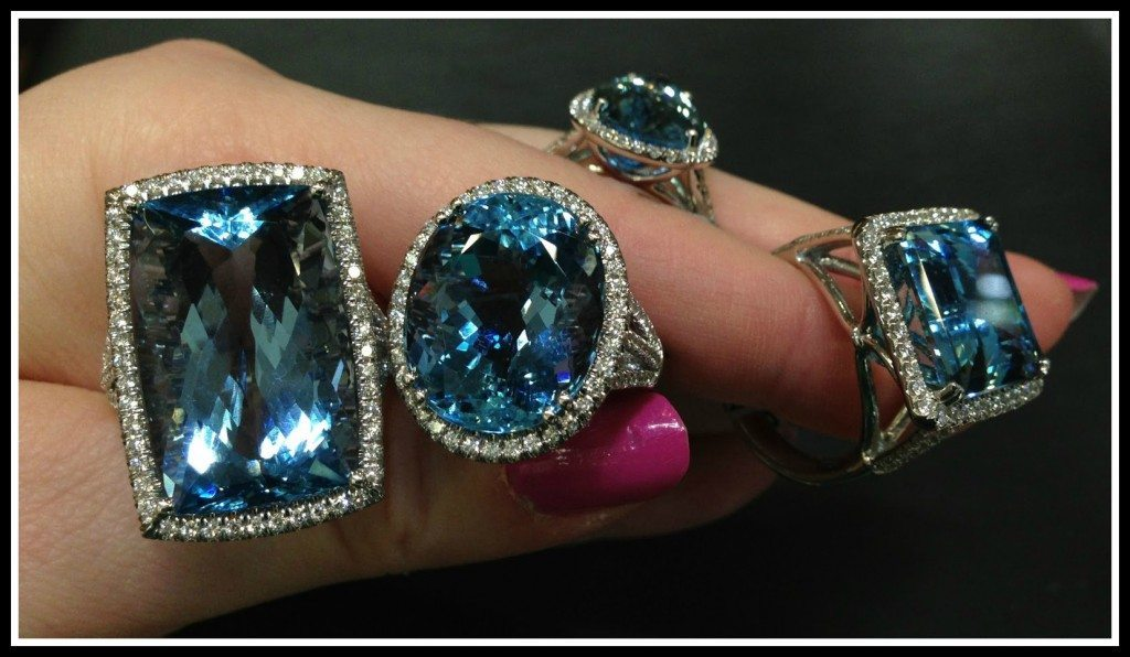 Aquamarine and diamond rings by Coast Diamond. Via Diamonds in the Library.