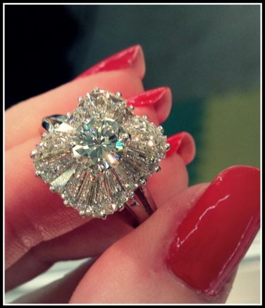 Antique 1930's ballerina diamond engagement ring. Via Diamonds in the Library.