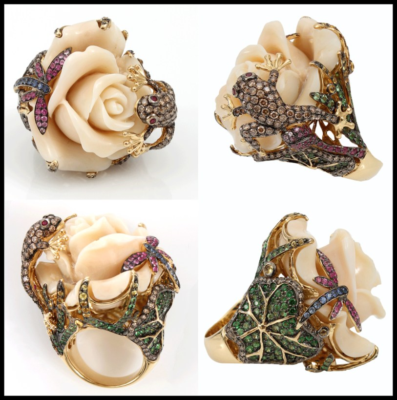 Wendy Yue Carved Agate Flower Ring. Via Diamonds in the Library,