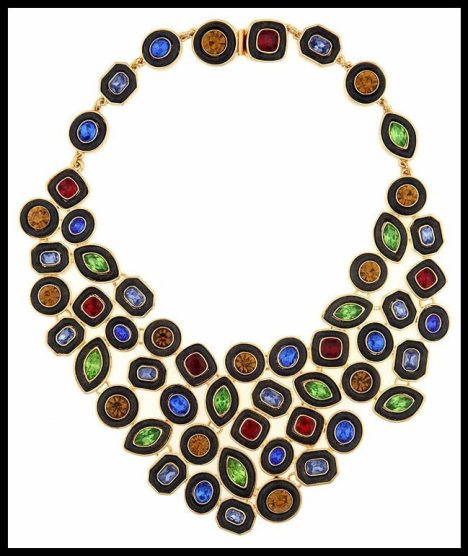 Kara by Kara Ross Multi-Colored Crystal & Ebony Resin Bib Necklace. Via Diamonds in the Library's jewelry gift guide.